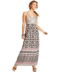 Angie Dress, Sleeveless Studded Printed Maxi - Juniors Dresses - Macy's