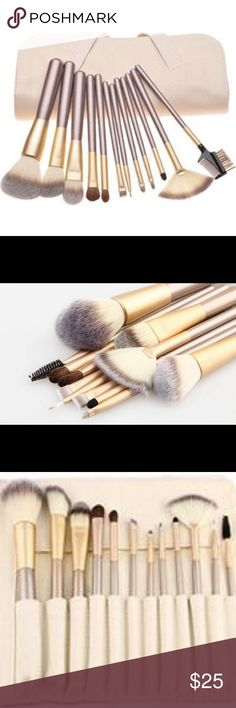 12 pc Brush Set! New nice color gold with Ivory 12 pc set nice brush set comes with nice pouch to keep them in place! Natural Beauty Makeup Brushes & Tools