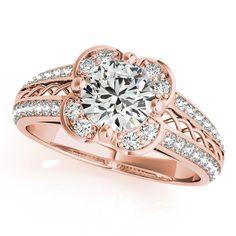 Micro-pave' Flower Halo Diamond Engagement Ring 14k Rose Gold (2.00ct) - Allurez.com