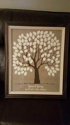 Burlap Wedding Tree Print | Guest Book Alternative | 100 Signature Spaces | Rustic Wedding | Customer Photo | Wedding Color - Yellow | peachwik.com
