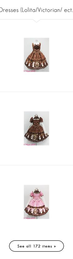 """""""Dresses (Lolita/Victorian/ ect.)"""" by echorose-1 on Polyvore featuring lolita, angelic pretty, dresses, jsk, chess chocolate, op, chocolate dress, lacy dress, chocolate brown lace dress and chocolate brown dress"""