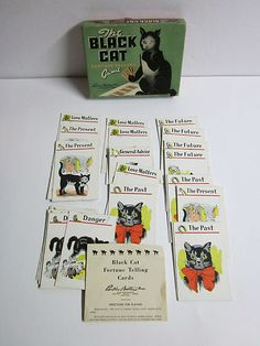 Vintage Halloween Toy ~ Black Cat Card Game by Parker Brothers * Circa, 1950's