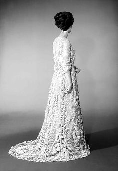 Wedding dress Date: ca. 1870 Culture: Irish Medium: cotton Dimensions: Length at CB: 69 in. (175.3 cm) Credit Line: Brooklyn Museum Costume Collection at The Metropolitan Museum of Art, Gift of the Brooklyn Museum, 2009; Ella C. Woodward Memorial Fund, 1922