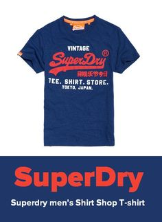 """Available Colors: Princeton blue marl Available Sizes: XS, Chest 34.0"""" (86cm) ,M, Chest 38.0"""" (97cm) ,L, Chest 40.0"""" (102cm) Superdry men's Shirt Shop T-shirt. A classic fit, crew neck t-shirt featuring a two colour, cracked print version of the iconic Vintage Superdry logo across the chest. The t-shirt is finished with a By Superdry logo tab on the sleeve. #superdry #fashion #mensfashion #menswear #style #tshirt"""