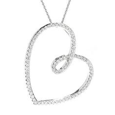 """153-913 - Gems of Distinction™ 14K White Gold 0.55ctw Diamond Heart Pendant w/ 18"""" Cable Chain.  Join me for Gems of Distinction on Sunday, April 3rd on EVINE Live! Show times are 8:00-10:00am and 6:00-8:00pm eastern time!"""