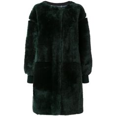 Chloé teddy shearling coat (4,865 CAD) ❤ liked on Polyvore featuring outerwear, coats, jackets, coats & jackets, jakne, green, long oversized coat, sheep fur coat, oversized coat and long green coat