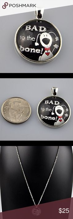 "Black Bad to the Bone Silver Glass Dome Necklace Are you Bad to the Bone"" like the George Thorgood song? Then this glass dome Necklace may be the one for you.   Handmade 1"" round Pendant with image sealed behind glass in an antique silver tone tray.   Choice of a 16"", 18"", 20"", or 24"" Rolo Chain necklace. See sizing guide in last photo. Pictured on a 24"" Chain.  Hand assembled so small air bubbles may be present. Water resistant but not waterproof. Photo taken next to quarter for size…"