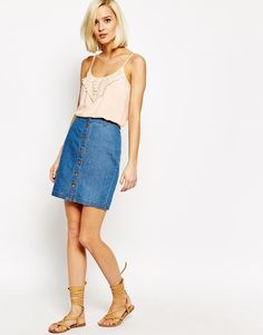 Vero Moda Front Button Up Denim Skirt