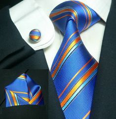 531Bacrelli Blue/W Orange Stripe 100% Silk Tie Set « Mens Silk Ties | Wedding Ties | Ascots | Best Bowties