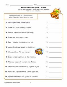 24 Best punctuation and capital images | Punctuation worksheets ...