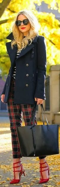 Astounding Shoes Check Style Pent coat and Leather Bag