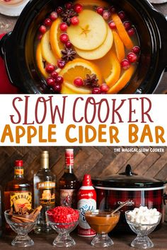 Slow Cooker Apple Cider has plenty of spices and makes a perfect warm beverage for any party or large crowd. Apple cider cooked in the crock pot along with cinnamon, cloves, and star anise. Apple Cider Bar, Crockpot Apple Cider, Mulled Apple Cider, Homemade Apple Cider, Apple Cider Donuts, The Magical Slow Cooker, Slow Cooker Apples, Yummy Drinks, Halloween Nails