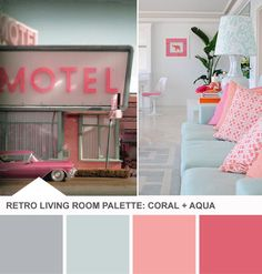 Coral and Aqua Living Room Color Palette - Tuesday Huesday on HGTVs Design Happens. I would love these colors in the guest room Retro Living Rooms, My Living Room, 1950s Living Room, My New Room, My Room, Coral Aqua, Coral Color, Big Girl Rooms, Retro Home Decor