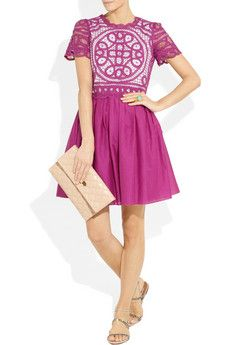 Moschino Cheap and Chic Lace-Paneled Cotton and Silk-Blend Dress - uber chic!