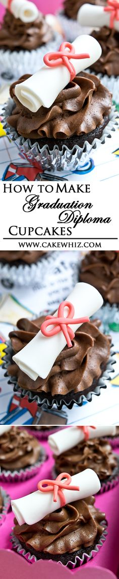 Use this step by step tutorial to make easy GRADUATION DIPLOMA CUPCAKES. It's the perfect treat for all the awesome graduates! From cakewhiz.com