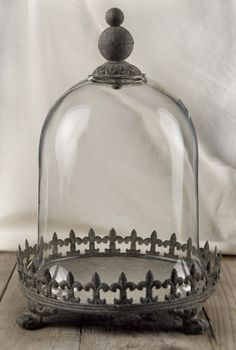"Large 11"" glass cloche with metal base - use something like this glass dome display for mom and dad's wedding memorabilia."