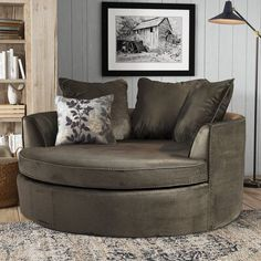null Whether you love curling up beside loved ones or you prefer lots of elbow room as you lounge, this oversized barrel chair is the perfect pick for your home. Banquettes, Swivel Barrel Chair, Lounge, Chair Upholstery, Wingback Chair, Loveseat Sofa, My New Room, Modern Farmhouse, Love Seat