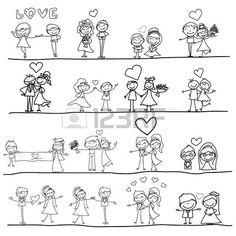 de dibujos animados de dibujo a mano feliz pareja de novios Foto de archivo