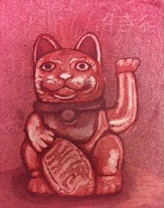 Maneki neko Lucky Cat www.anna-maija.com Intaglio Printmaking, Maneki Neko, Anna, Cats, Artist, Gatos, Artists, Cat, Kitty