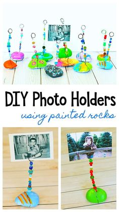 Painted Rock Photo Holder Craft for Kids: Paint rocks or stones and turn them into special keepsakes or homemade gifts. Painted Rock Photo Holder Craft for Kids Mothers Day Crafts For Kids, Fun Crafts For Kids, Creative Crafts, Diy For Kids, Kid Craft Gifts, 5 Year Old Crafts, Grandparents Day Crafts, Diy Gifts For 5 Year Olds, Presents For Mothers Day