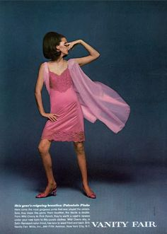 """petticoatpower: """" wildlydeliciouslingerie: """" Vanity Fair """" This is a stunning pink lacy slip - they don't make them like that anymore! Vintage Slip, Vanity Fair, Nylons, Lingerie Catalog, Full Midi Skirt, Chiffon, Tropical Dress, Tent Dress, Lace Slip"""