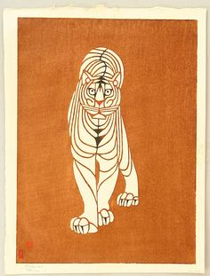 """Toshijiro (Nenjiro) Inagaki 1902-1963 - """"Tora"""" (""""Tiger""""), woodblock print. Toshijiro was a famous kimono designer. He received the highest honor as artist, Intangible Cultural Property, from Japanese government in 1962. He designed only handful woodblock prints in the 1950's."""