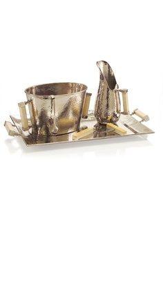Instyle Decor Designer Hammered Silver Ice Bucket Bar Set Luxury Wedding Gifts