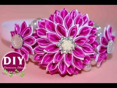 DIY.Kanzashi flower tutorial. Headband Kanzashi. Flowers Kanzashi. - YouTube