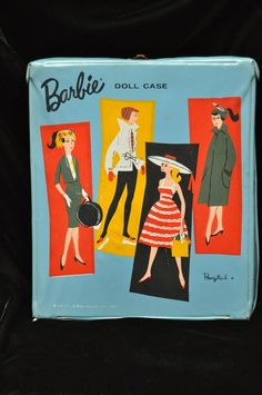 Vintage Barbie Doll Carrying Case/Ponytail 1961/4 Images/Blue Cover/1960s Mattel Accessory Toy Girls Collectible Decor Distressed