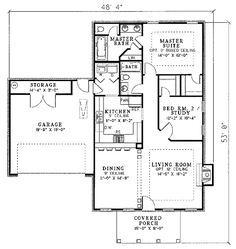 Colonial Style House Plan - 2 Beds 2 Baths 1169 Sq/Ft Plan #17-1120 Floor Plan - Main Floor Plan - Houseplans.com
