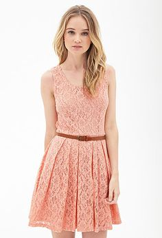Belted Crochet Lace Dress | FOREVER21 - 2000120213