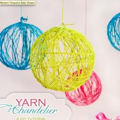 Yarn Chandelier {Party Decor}    These adorable yarn chandeliers are perfect for any celebration!  They are versatile and budget-friendly.  You can make them using a glue mixture, balloons, and yarn.  Yes, they are a bit messy, but well worth it!