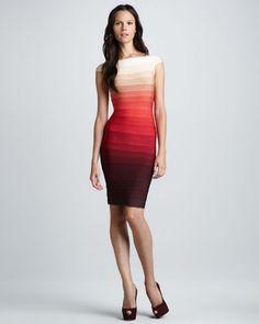 Herve Leger Ombre-Stripe Cap-Sleeve Bandage Dress - Neiman Marcus