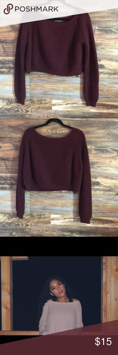 Cropped Sweater Burgundy Cropped Sweater. Looks exactly like the pictures but just a different color. Brandy Melville Sweaters Crew & Scoop Necks