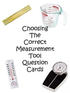 Questions asking which measurement tool to use including:CapacityWeightTemperatureLengthAlso includes heading cards to put the questions ...