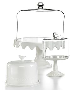 Martha Stewart Collection Serveware, Domed Ceramic Cake Stands Collection - Dining & Entertaining - for the home - Macy's Cake Stand With Dome, Cake Dome, Cake And Cupcake Stand, Love Cake, Cupcake Cakes, Cupcake Queen, Cake Pedestal, Dessert Aux Fruits, Cake Plates