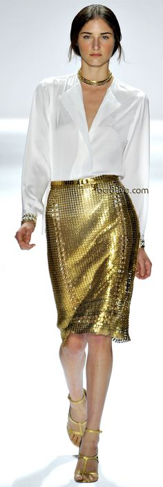 Elie Tahari Spring 2012 Collection at New York Fashion Week - Haute Living Gold Fashion, Runway Fashion, High Fashion, Fashion Show, Womens Fashion, Elie Tahari, Gold Skirt, Gold Dress, Sequin Skirt
