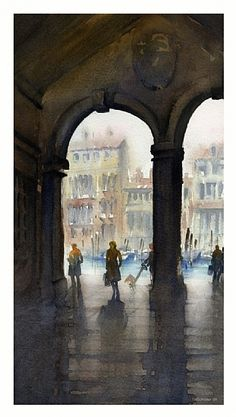venice - canal by Thomas W Schaller Watercolor ~ 14 inches x 9 inches