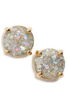 These gorgeous Kate Spade earrings are flecked with flurries of metallic glitter and luminous sparkles. Love them!