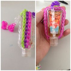 Made a Rainbow loom hand sanitizer case @TutorialsByA #TutorialsByA