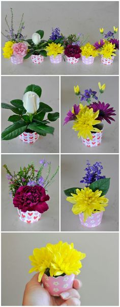 Use a decorative cupcake case to make a mini flower arrangement. Kids could do it themselves!