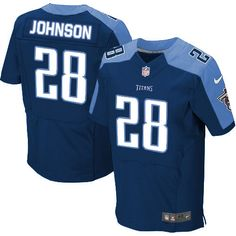 Mens Nike Tennessee Titans #28 Chris Johnson Elite Dark Blue Alternate Jersey $129.99