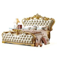 French Neoclassical Really Pila diamond luxury Double Bed 1.8 Imported wood carved champagne Marriage Bed