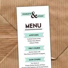 Custom Printable Wedding Menu  Modern Banner Collection by TypeTen, $15.00