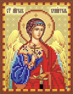 Guardian Angel orthodox icon beaded embroidery kit DIY