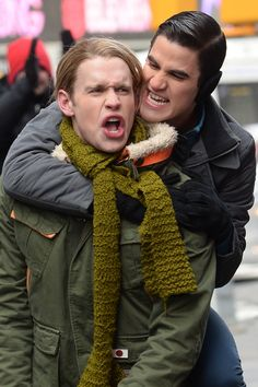 Darren Criss and Chord Overstreet on set of #Glee NYC Times Square (3/13/14)