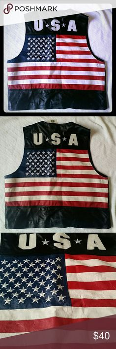 Men's XL Interstate Leather USA Black Vest Men's Interstate Leather Vest Genuine Leather Black Back says USA with the American flag on bag. Size XL Professionally Leather Clean Only Front has soft snaps (they come apart and go together pretty easy). New with tag still attached. From a smoke-free and pet-free home. This is a lighter leather and will be folded to fit into box. Interstate Leather Jackets & Coats Vests