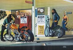David Mann Motorcycle Biker Easyriders Centerfold Art Poster Print Gas Stop Bike Chopper Sturgis Day Harley Davidson Kunst, Classic Harley Davidson, Harley Davidson Chopper, Harley Davidson Street Glide, Harley Davidson Motorcycles, Motorcycle Art, Bike Art, Scrambler Motorcycle, Street Tracker