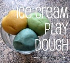 ice cream playdough recipe, with links to lots of other playdough ideas