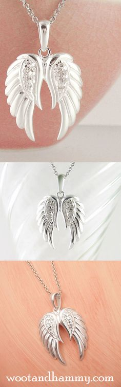 Angels live among us. We may not see their wings or the glow of their halos, but we can feel their presence through the peace and comfort they bring. Angel wing necklace in sterling silver. See it at www.wootandhammy.com.